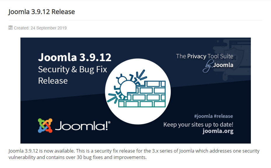 Joomla Update Release for the 3.9.12 version