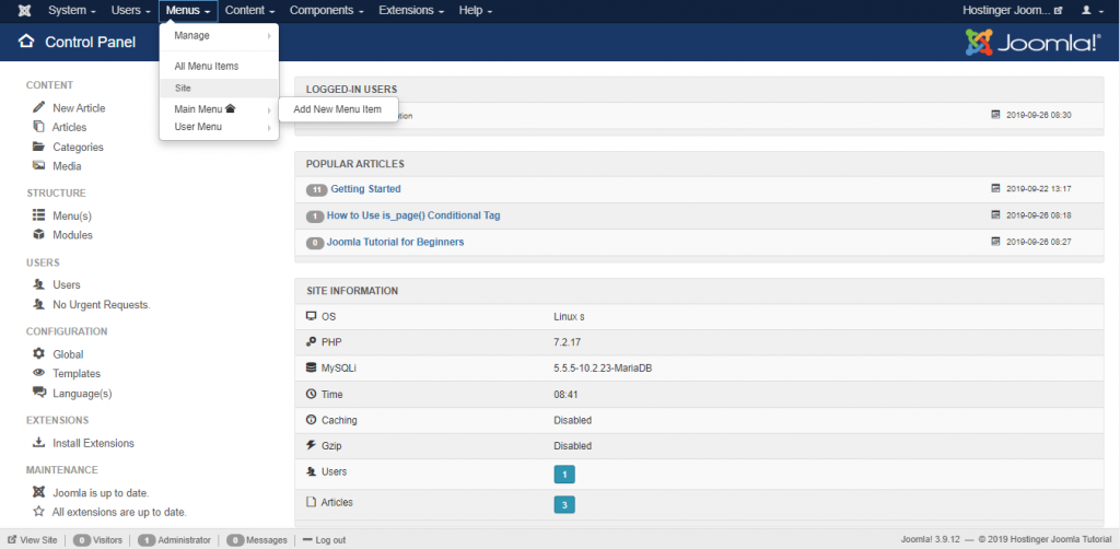 adding new menus on the Hostinger Joomla Tutorial site