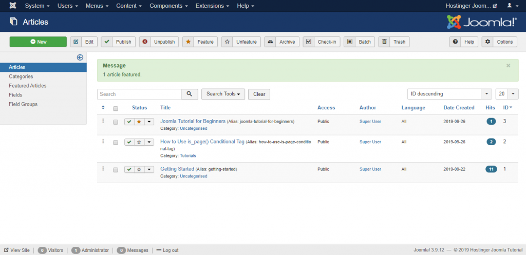 Screenshot of how to add a featured article on Joomla