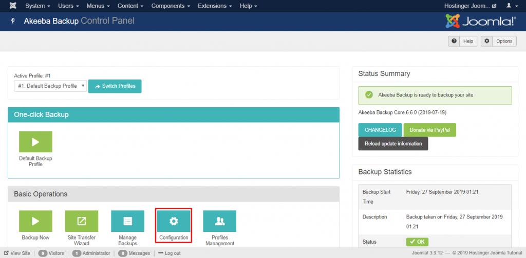 Screenshot of Joomla's Akeeba control panel