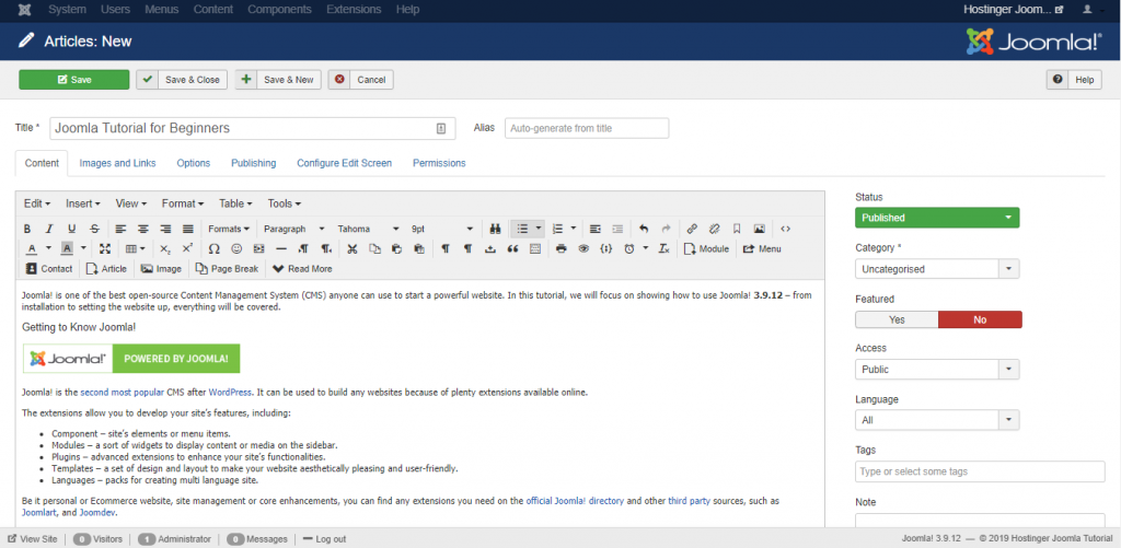Creating a new article from Joomla!'s article editor on the Hostinger Joomla Tutorial site