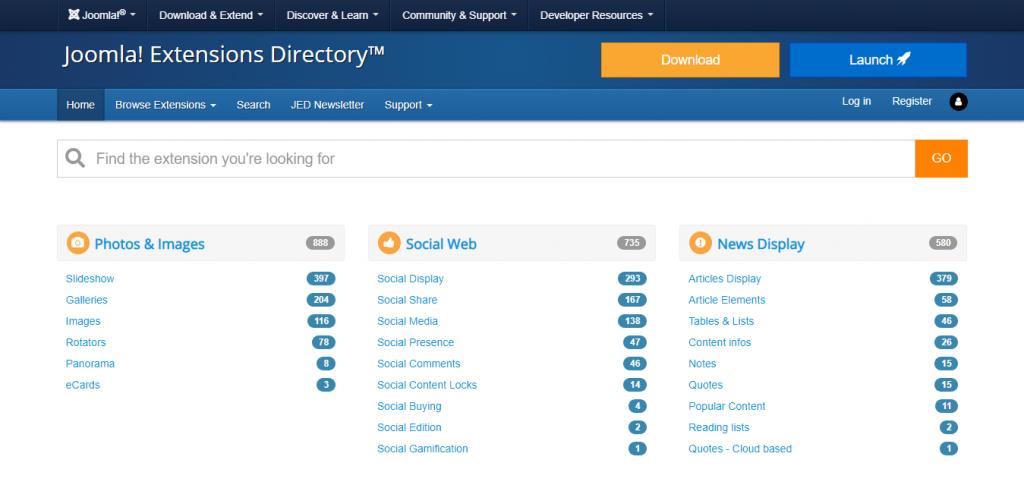 Screenshot of Joomla's directory