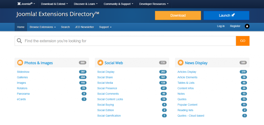 The Joomla!'s extensions directory page