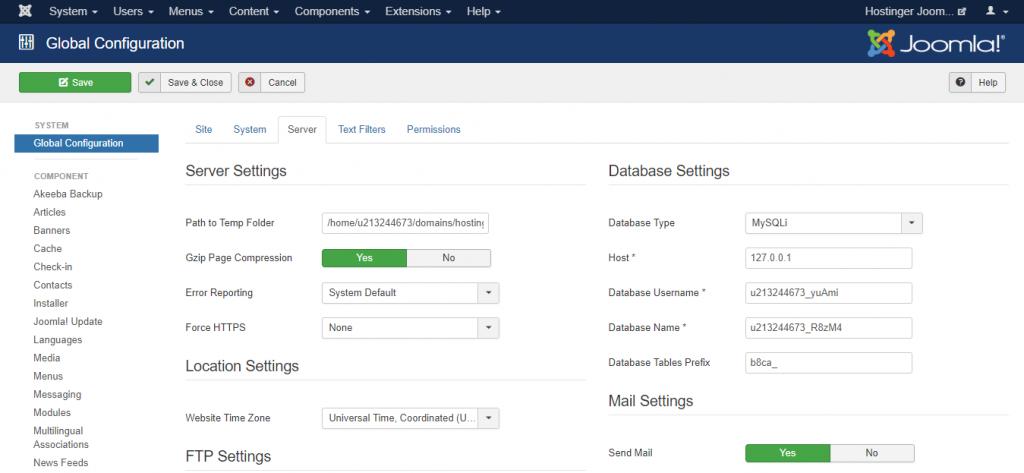Screenshot of Joomla's global configuration