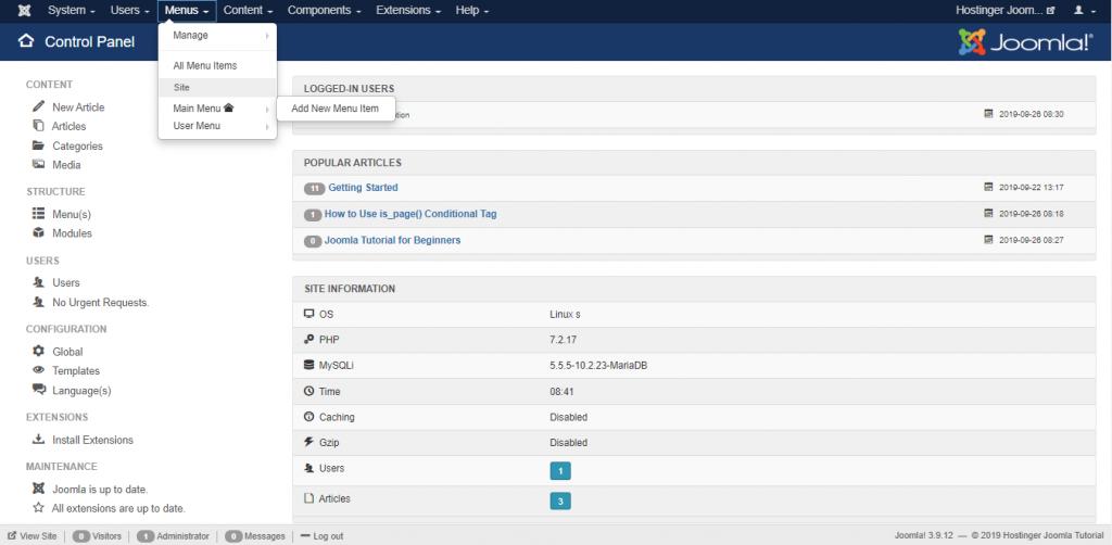 Screenshot of Joomla's menu tab