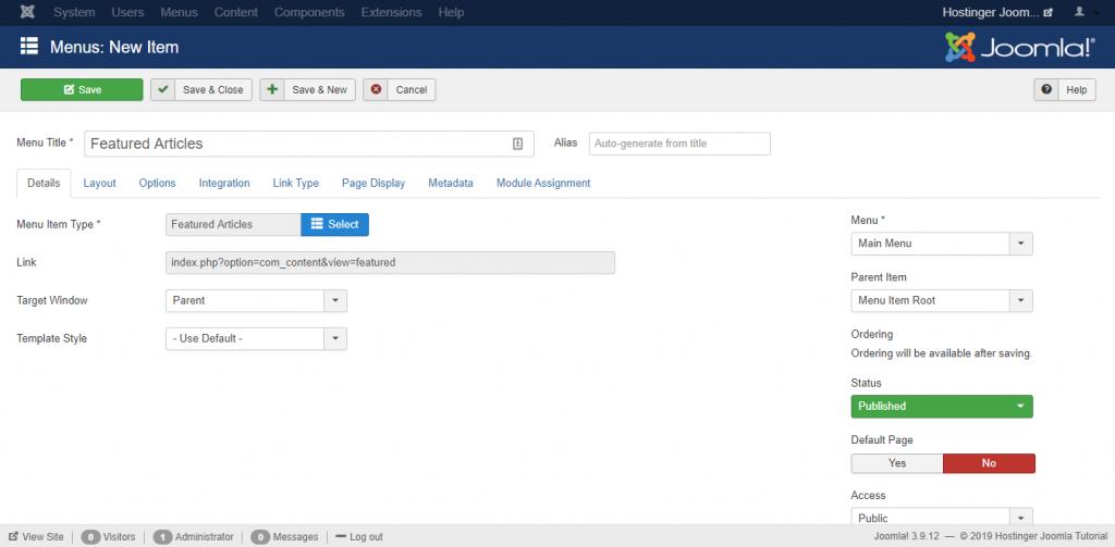 Screenshot of Joomla's menu