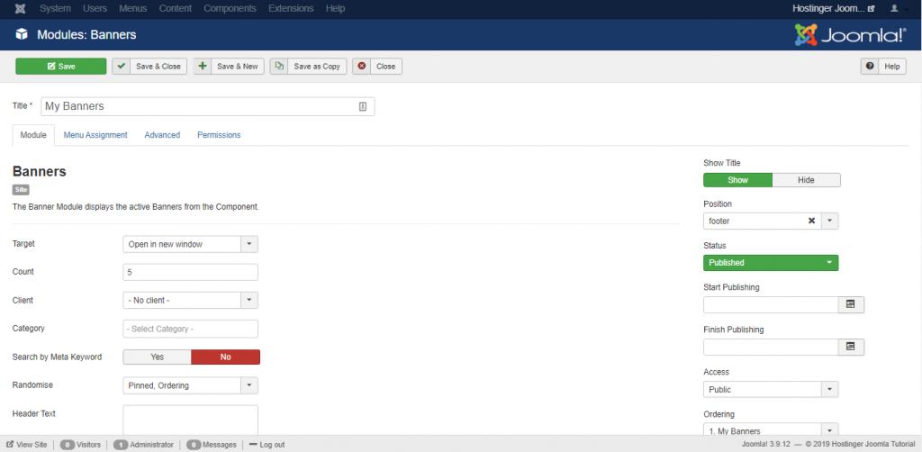 Screenshot of Joomla's banners module
