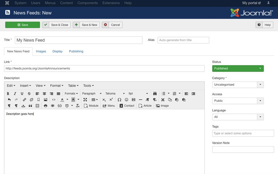joomla news feed component creation