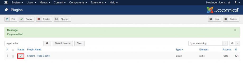 Screenshot of Joomla's plugin check