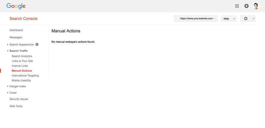 manual actions section in google search console
