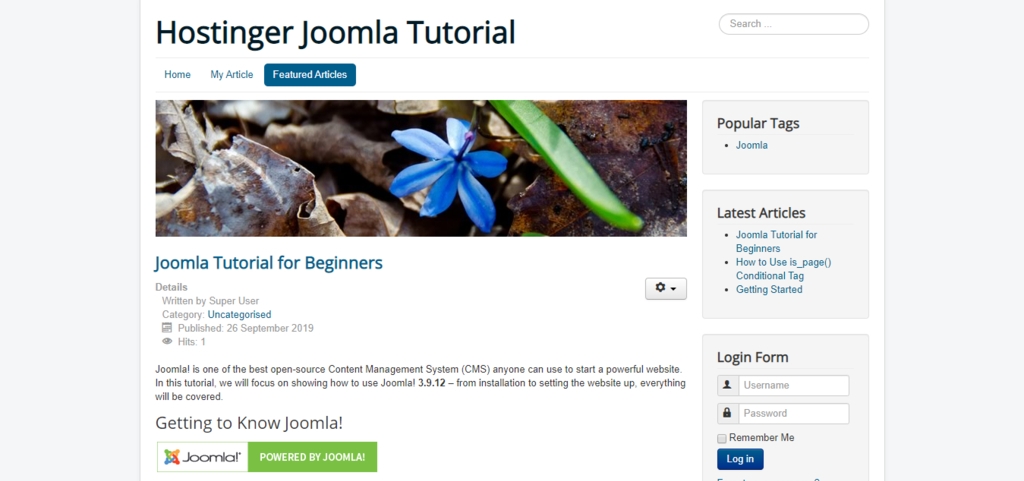 Featured Articles menu on the main Hostinger Joomla Tutorial site