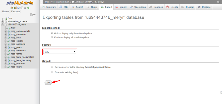 base de données de sauvegarde phpMyAdmin final