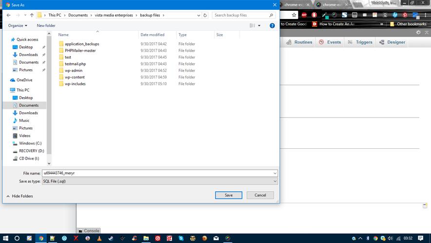 phpMyAdmin backup database save