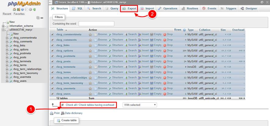 phpMyAdmin backup database