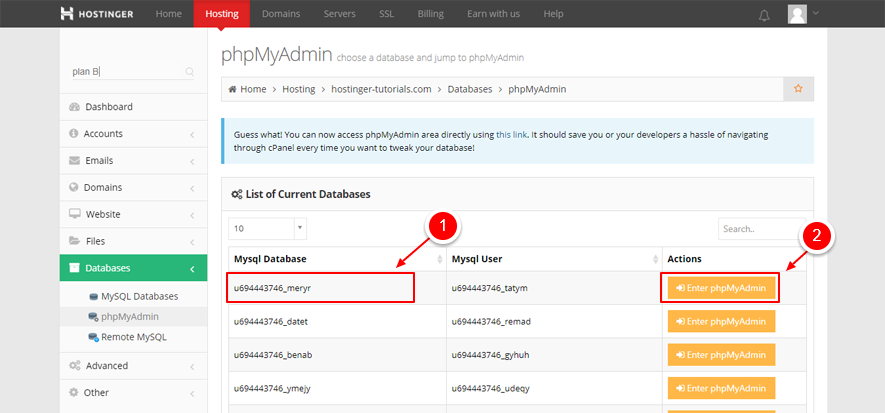 phpMyAdmin list of databases WP DB marked