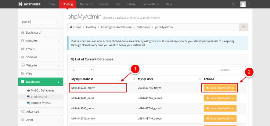 phpMyAdmin liste des bases de données WP DB marqué