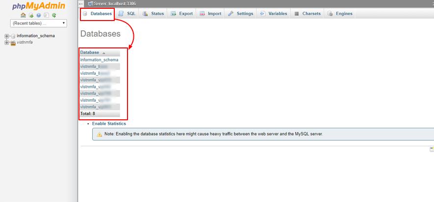 phpMyAdmin liste des bases de données d'autres hôtes