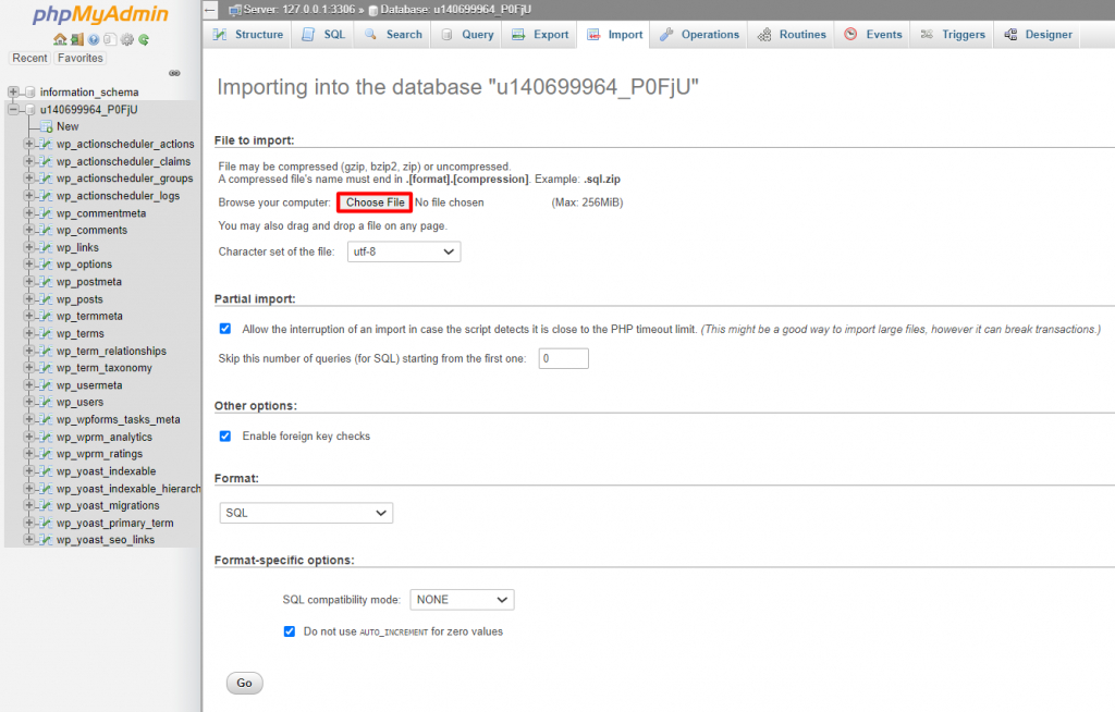 Importing a database in phpMyAdmin.