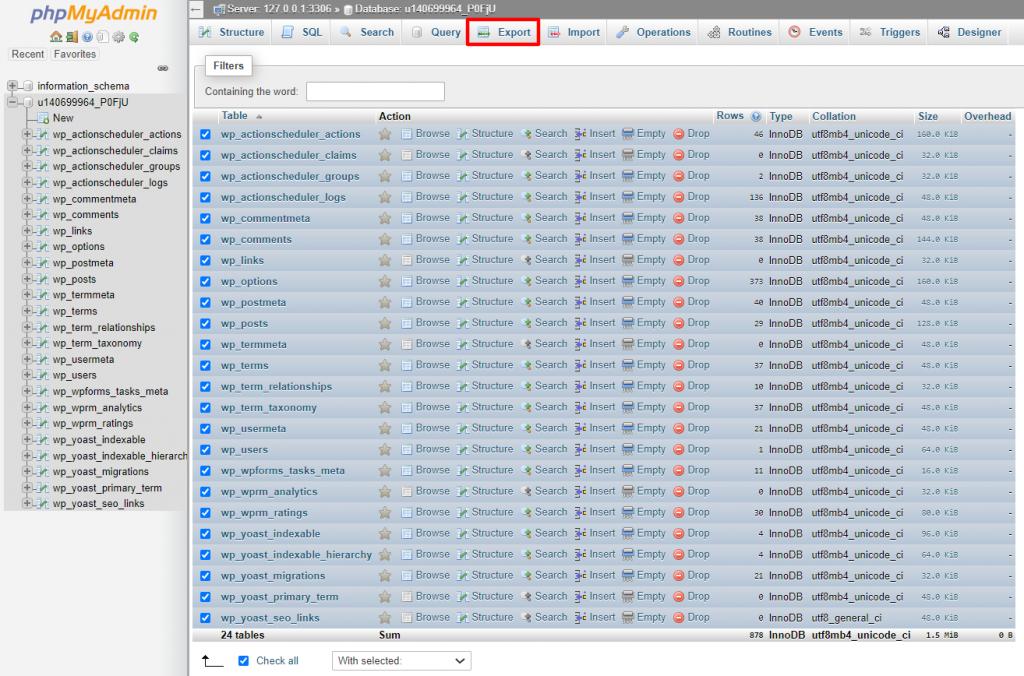 Export feature in phpMyAdmin.