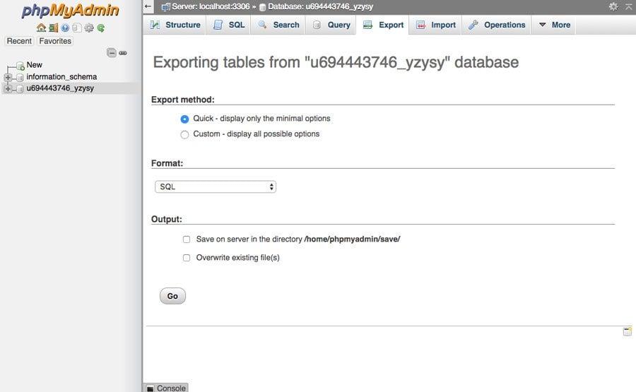 phpmyadmin export joomla database