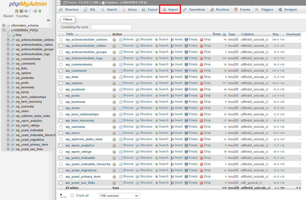 Import feature in phpMyAdmin.