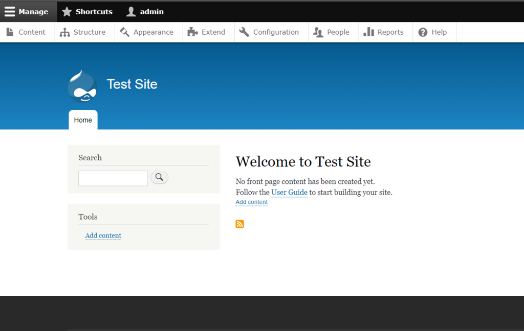 screenshot of admin dashboard in drupal