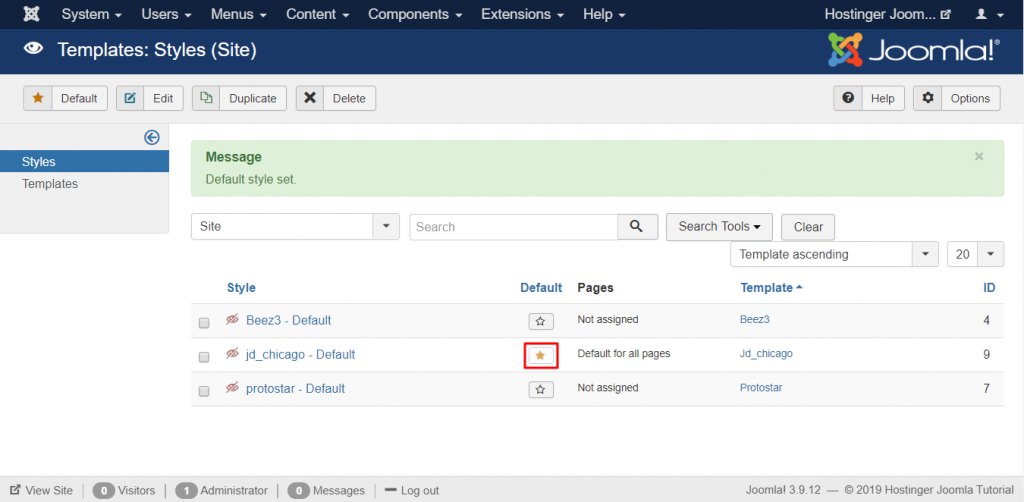 Setting up the default template for the Hostinger Joomla Tutorial site