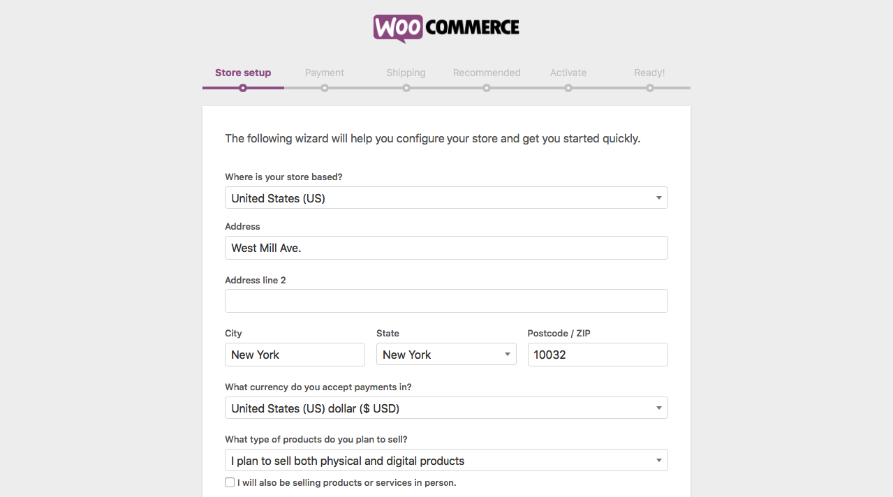 WooCommerce initial setup wizard