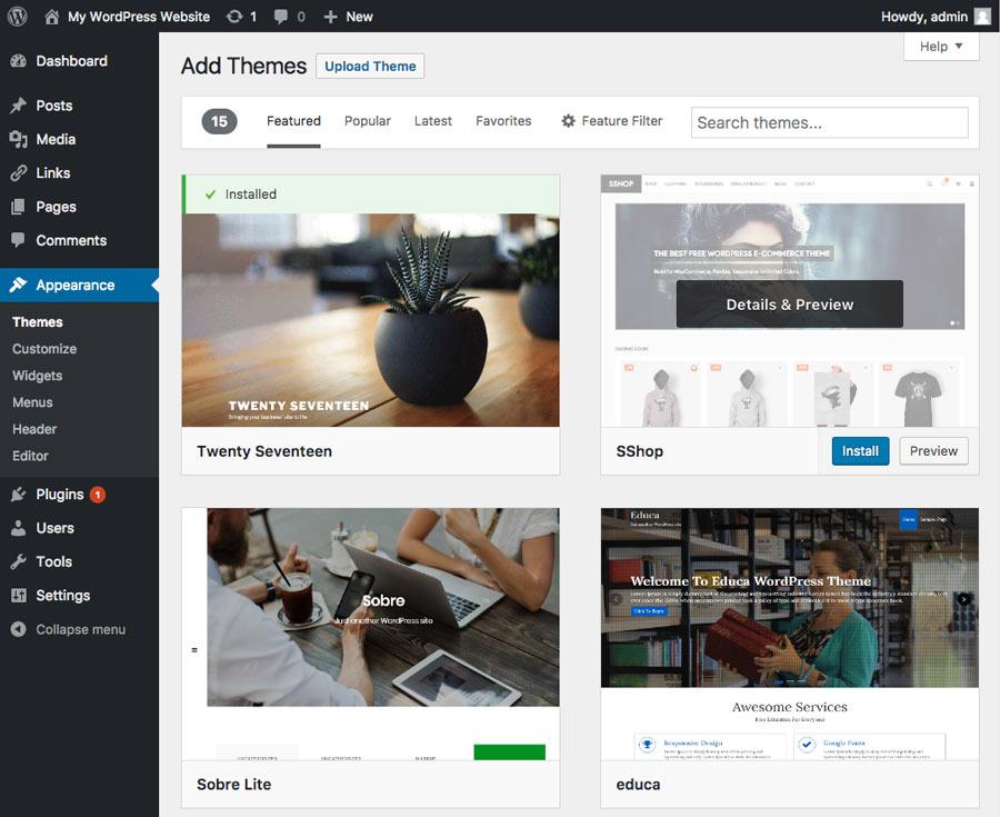 Installing new theme on WordPress website