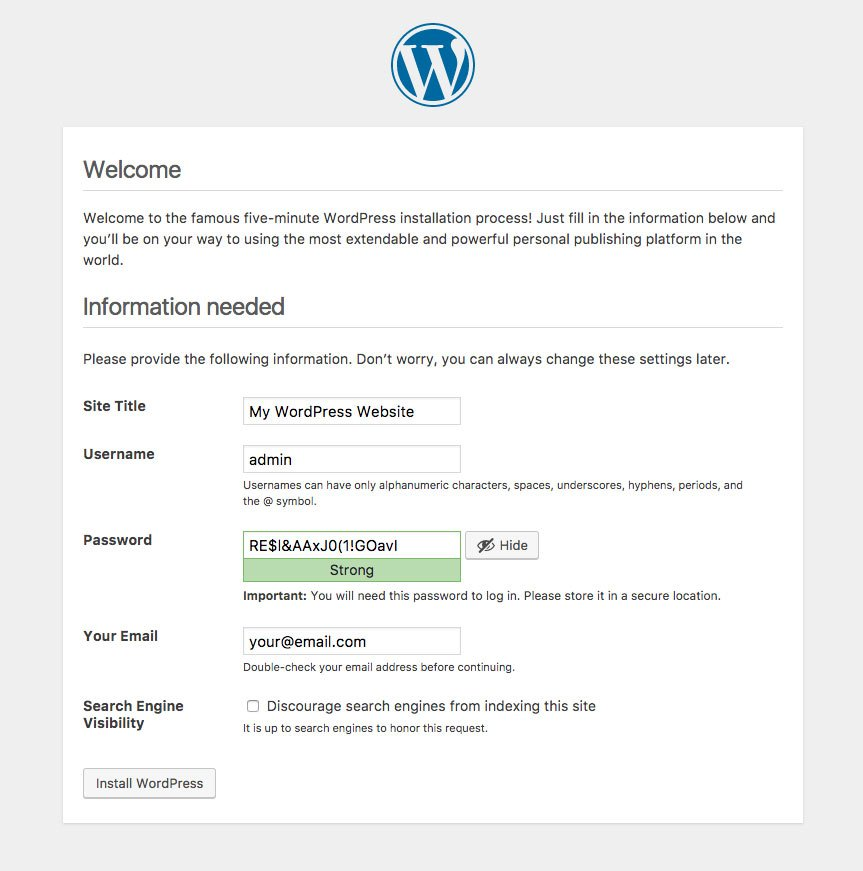Tombol install WordPress