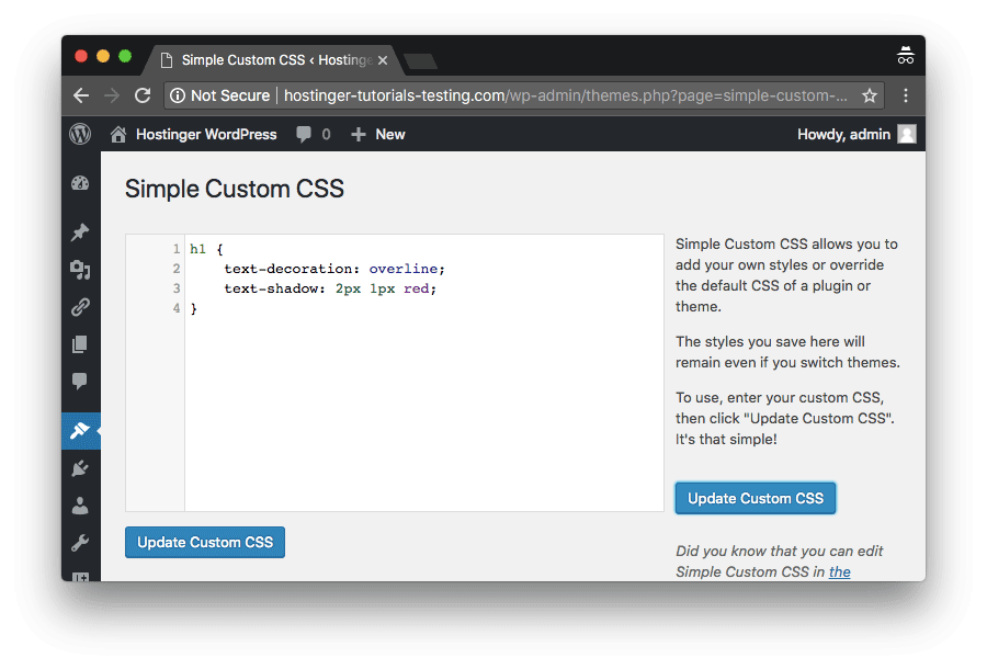 Add WordPress custom CSS in this editor interface and save it