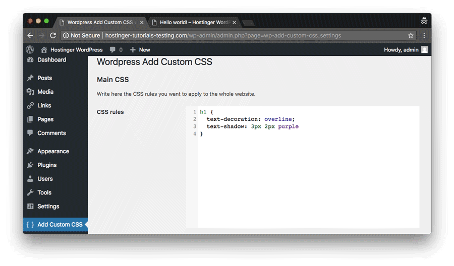 Adding WordPress custom CSS through WP plugin on the whole website