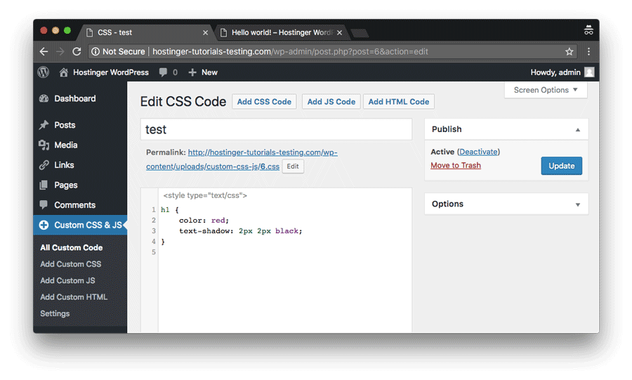 Editing WordPress Custom CSS entry and making h1 tags a little more colorful