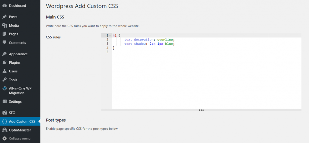 Adding custom CSS using WP Add Custom CSS plugin