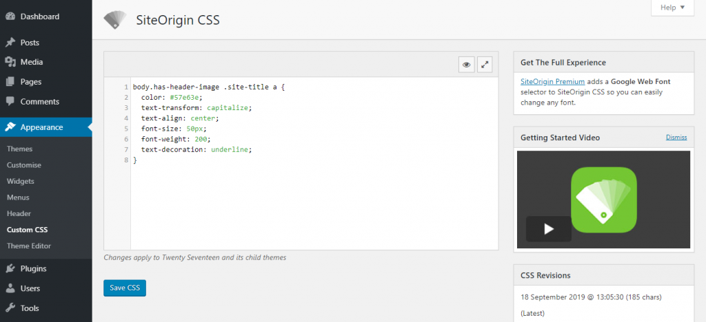 Adding custom CSS using SiteOrigin CSS plugin