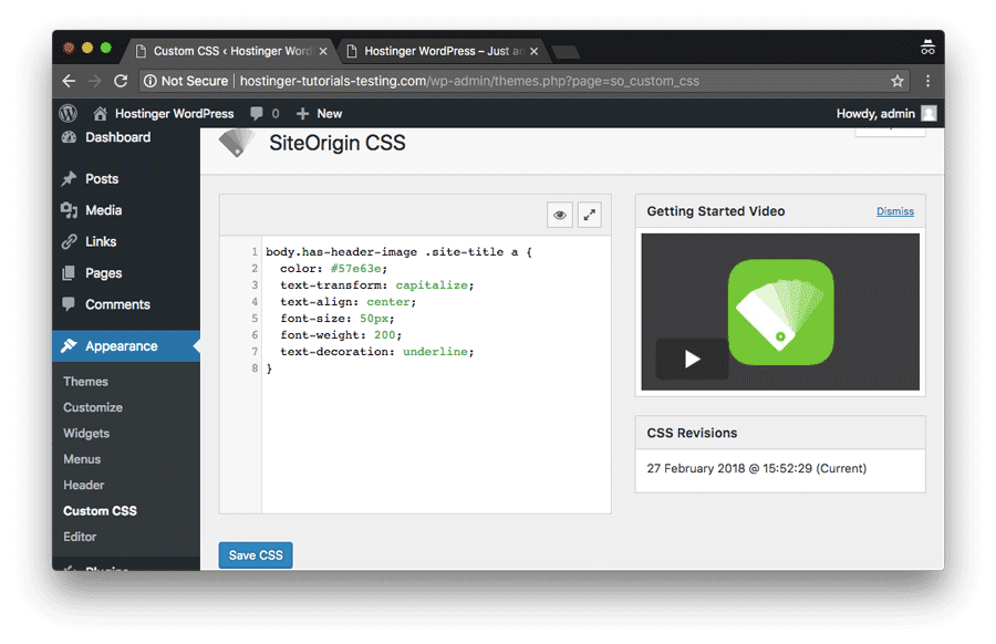 WordPress custom css by SiteOrigin plugin preview