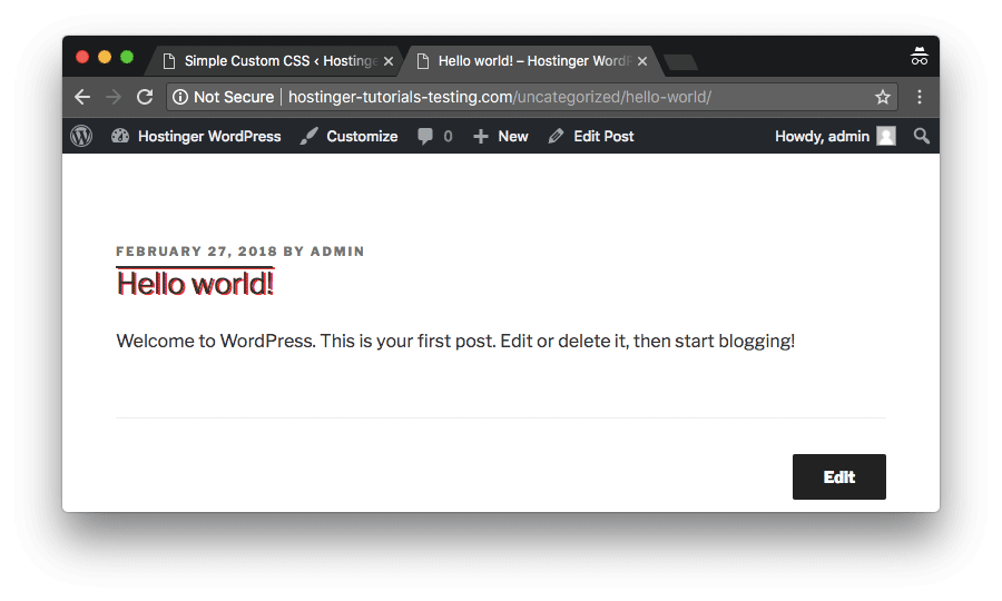 WordPress custom CSS successfully added and visible on the live site