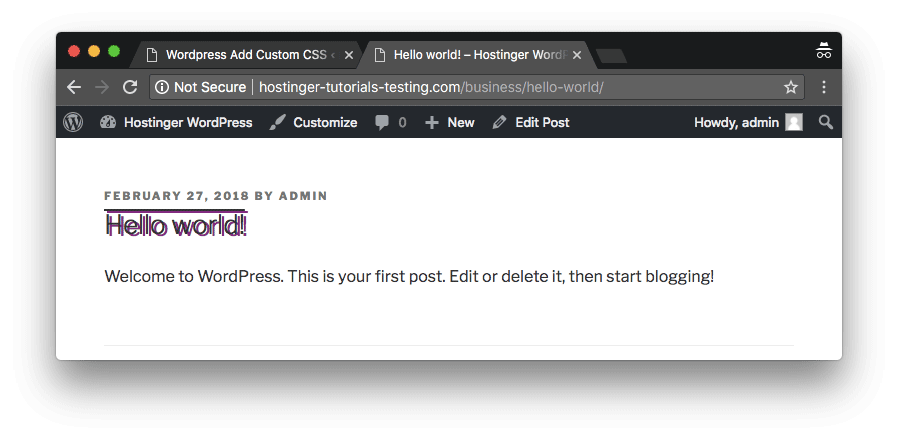 WordPress custom CSS successfully added and available on the live site