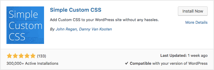Installing WordPress Custom CSS plugin called Simple Custom CSS via dashboard