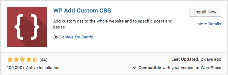 Installing WordPress Custom CSS plugin called WP Add Custom CSS via dashboard