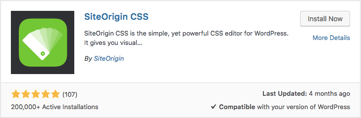 Installing WordPress Custom CSS plugin called SiteOrigin CSS via dashboard