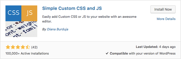 Installing WordPress custom CSS plugin called Simple Custom CSS and JS via dashboard
