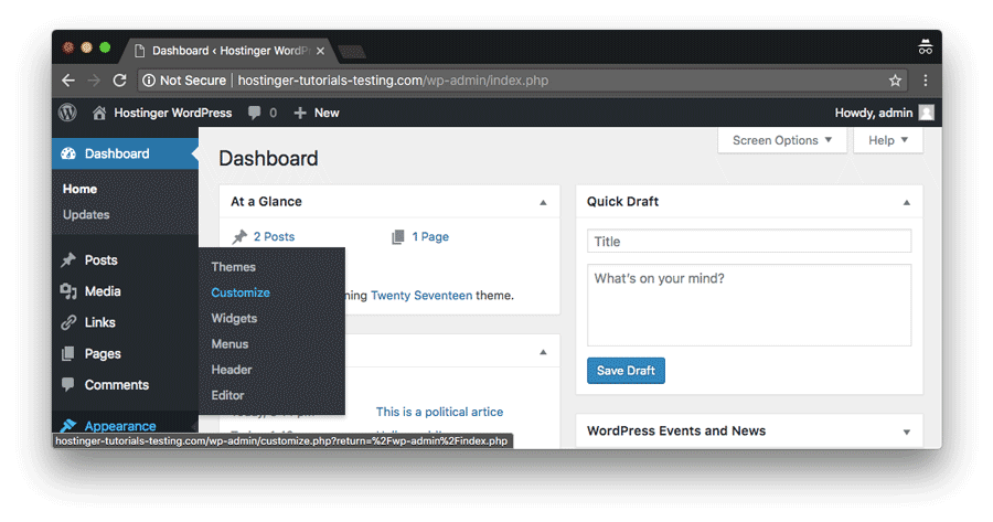 Navigating to Appearance and Customize section in WordPress dashboard