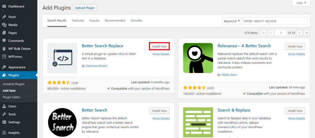 How to install Better Search Replace plugin.