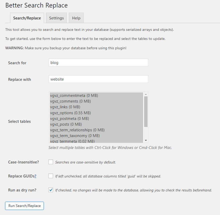 better-search-replace-wp-plugin-usage