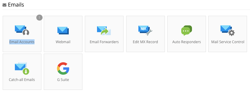Email Accounts section on Hostinger control panel