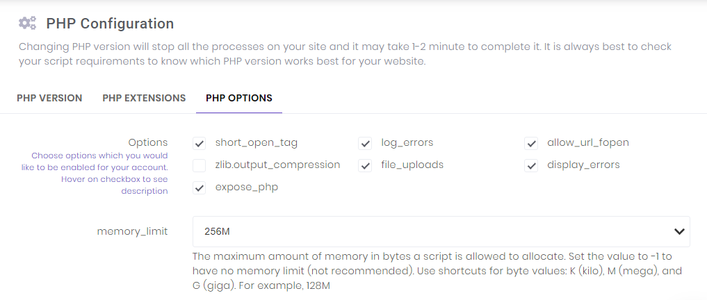 This image shows you how to make changes to the PHP Configuration tool on hPanel