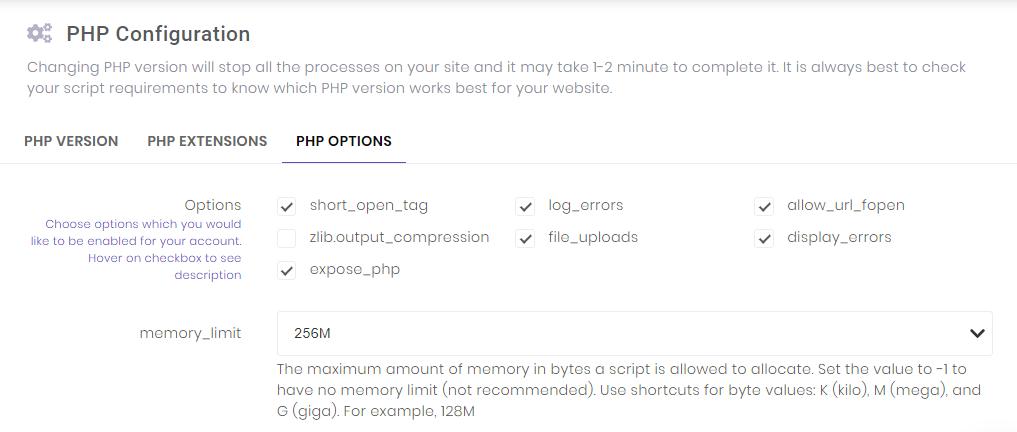 Gambar ini menunjukkan kepada Anda cara membuat perubahan pada alat Konfigurasi PHP di hPanel