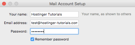 Entering email account credentials in Mozilla Thundebird
