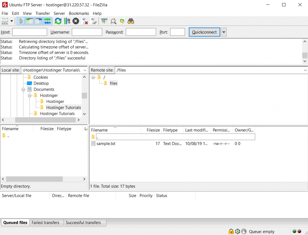 Test file on Ubuntu FileZilla client